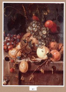 Vruchtenstilleven op een stenen plint