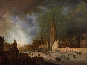 Nachtelijke brand bij de de Grote of Onze-Lieve-Vrouwekerk te Breda