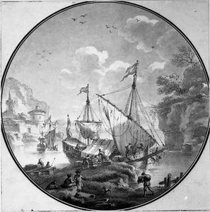 Het uitladen van een boot voor een zuidelijke kust