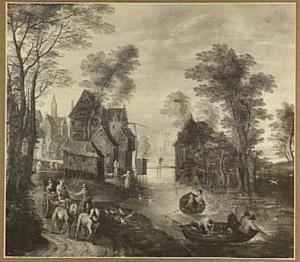 Landschap met reizigers langs een dorpsvaart, op de voorgrond rechts een boot