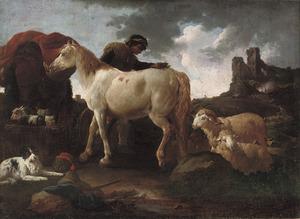 Italianiserend berglandschap met herder een paard verzorgend