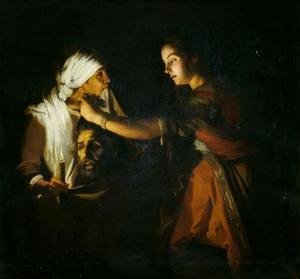 Judith doet het afgeslagen hoofd van Holofernes in een door haar dienstmaagd opgehouden zak
