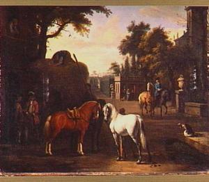 Parklandschap met paarden en hooiwagen