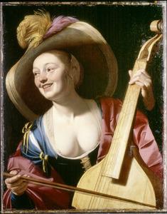 Jonge vrouw met strohoed en viola da gamba