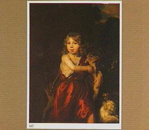 Portret van een jongen in fantasiekostuum met een hert en een hondje