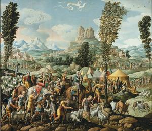 Jakob vlucht weg van Laban met al zijn have en goed (Genesis 31:17-18)