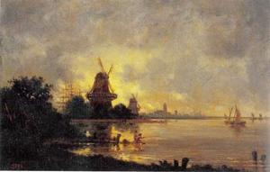 Molen bij een hollandse rivier