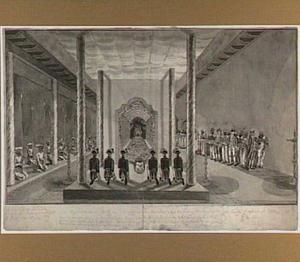 De koning van Kandy ontvangt de gezanten van de VOC in zijn paleis in Ceylon