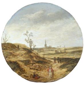 Duinlandschap met galgenveld, op de achtergrond de kerk van Zandvoort
