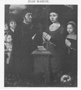 Portret van een stichter met zijn familie
