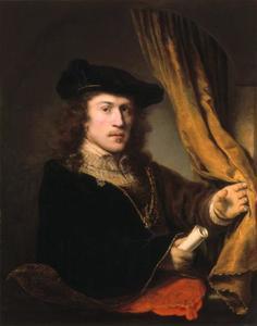 Zelfportret met schriftrol
