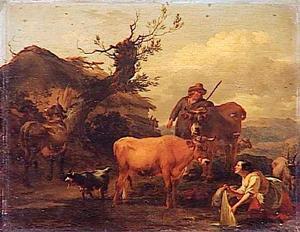 Wasvrouw en herder met vee aan de waterkant