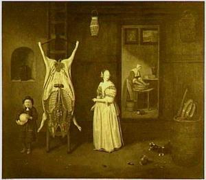 Vrouw en jongen met blaas in een bijkeuken bij geslacht varken