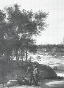 Landschap met boeren bij een slapende man, Antwerpen aan de horizon