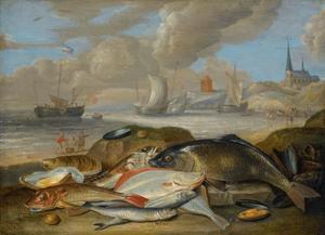 Stilleven van vissen in een haven landschap