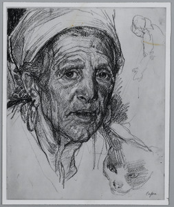 Portret van een oude vrouw uit Capri