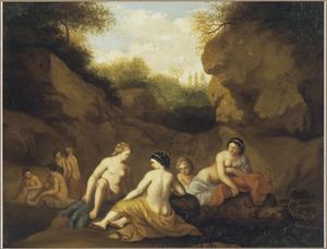Badende nimfen bij een rotswand