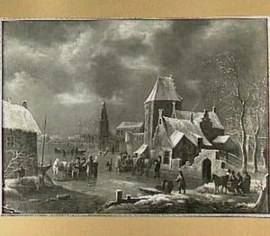 Wintergezicht bij een stad