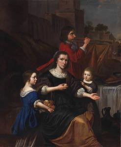 Portret van een moeder met twee kinderen en een trompetspeler
