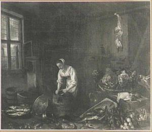 Keukenstuk met koper poetsende vrouw