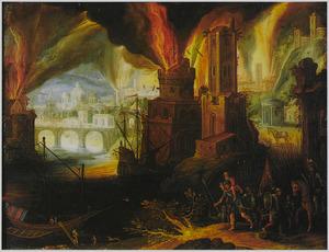 Aeneas,zijn zoon Ascanius en zijn vader Anchises ontvluchten het brandende Troje
