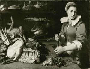 Keukeninterieur met meid met een stapel voedsel
