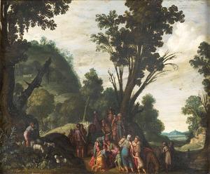 Landschap met de verzoening van Jacob en Esau (Genesis 33:4-5)