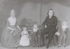 Portret van Frederik Justus van Harencarspel (1754-1825), Johanna Scheers (1757-1825) en hun kinderen