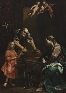 Jezus, Maria en Jozef in de werkplaats