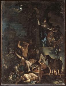 Tovenaars en heksen bij fakkellicht tijdens een zwarte mis
