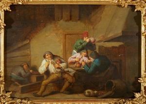 Drinkende, etende en rokende boeren in een interieur; allegorie op de Smaak