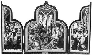 De H. Johannes de Doper met stichters (links), de kruisiging (midden), de H. Petrus met stichtsters (rechts)