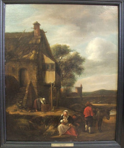 Landschap met figuren voor een huis