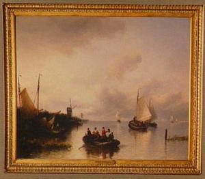 Riviergezicht met schepen; op de linkeroever een molen