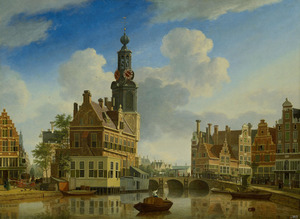 De Munttoren in Amsterdam gezien vanaf het Singel