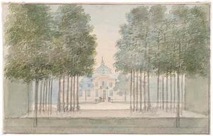 Gezicht op het voorplein en het huis van het hof Sint Jan ten Heere te Domburg
