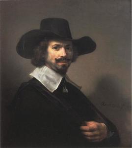 Portret van een man met grote zwarte hoed