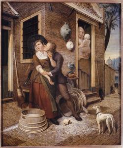 Een man tracht een melkmeid te kussen voor een woning