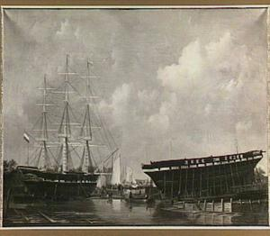 De tewaterlating van het fregat Oud-Alblas op 27 augustus 1836, op de werf van Gips en Zonen