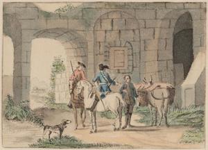 Twee soldaten te paard en een ezeldrijver bij een oude poort