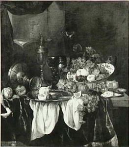Stilleven met fruit, oesters, een roemer en glas- en zilverwerk op een donker kleed met wit servet; nis met (muziek)boek, blokfluit en glas