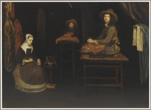 Haspelende vrouw en naaiende man en jongen in een interieur