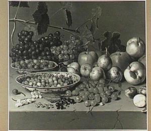 Stilleven van kruisbessen en aardbeien in twee porseleinen schalen, druiven, peren, pruimen en appels op een stenen tafel