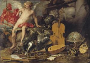 Cupido omringd met voorwerpen die verwijzen naar oorlog en kunst