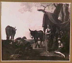 Rustende herders bij een tent