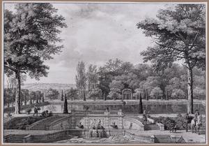 Gezicht op een gedeelte van het park van kasteel Het Loo te Apeldoorn