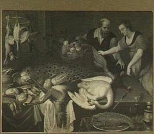 Vrouw gevogelte kopend op de  markt