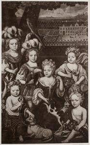 Portret van de kinderen van  Johann Maurits von Pabst (1650-1730)  en Clara Adriana van Ommeren (1668-1722), op de achtergrond Huis Bingerden