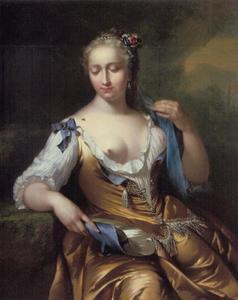 Portret (?) van een vrouw met een vlieg op haar schouder: allegorie op het zintuig van de Tast