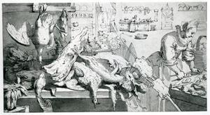 Keukenstilleven met een vrouw die oesters openmaakt, een uitstalling van fruit en jachtbuit, en een meid die groenten bereidt in de achtergrond